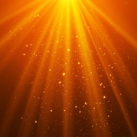 shining light: Orange shining light top magic abstract vector background