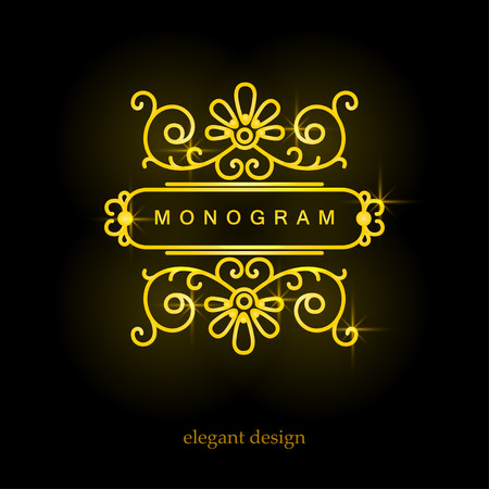 swirl background: Stylish elegant monogram, mono line art design icon, vector