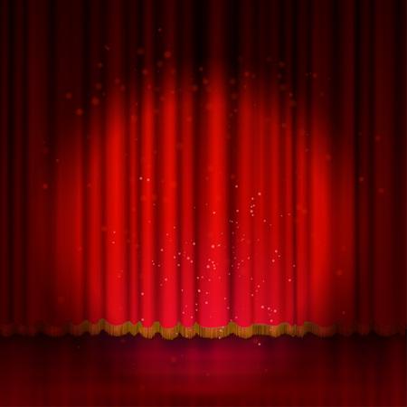 Spotlight on red stage curtain. Vector illustration.