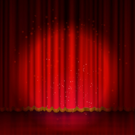 Spotlight on red stage curtain. Vector illustration.