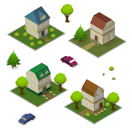 commercials: Isometric set of rural house and car, vector