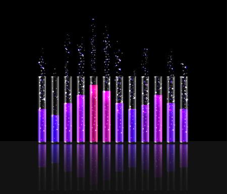 illustration of music in transparent equaliser bar in black background