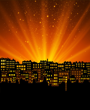 flyer design: Night city with sunset, background for your design flyer