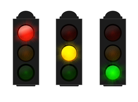 Set of Traffic Lights red yellow and green isolated on white, vector