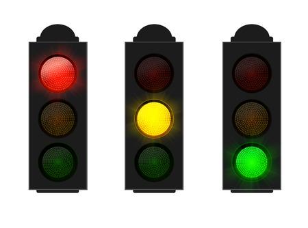 Stoplicht rood geel en groen geïsoleerd op wit, vector