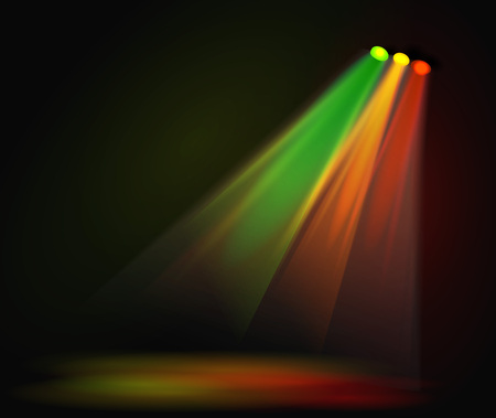 night club interior: Background image of spotlights with stage in color, vector