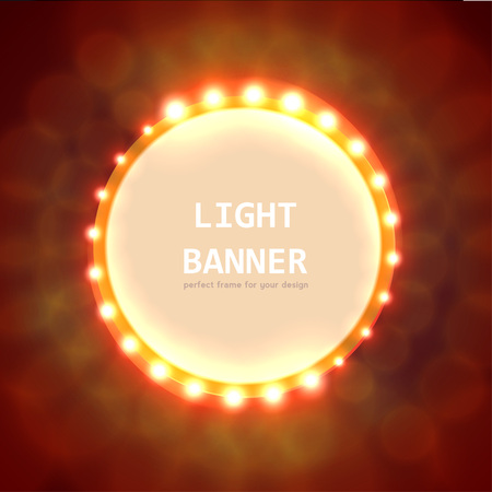 hollywood movie: Abstract circle light banner with text. Vector illustration