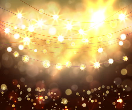 holiday light: Festive light background with bokeh and stars, vector
