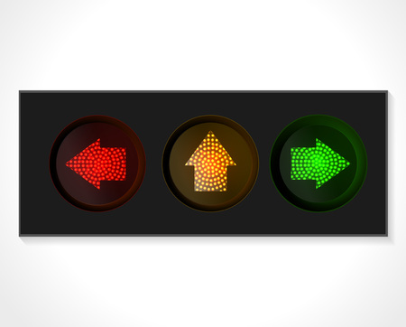 green arrow: arrow traffic lights with red, yellow and green lamps on. Illustration vector Illustration