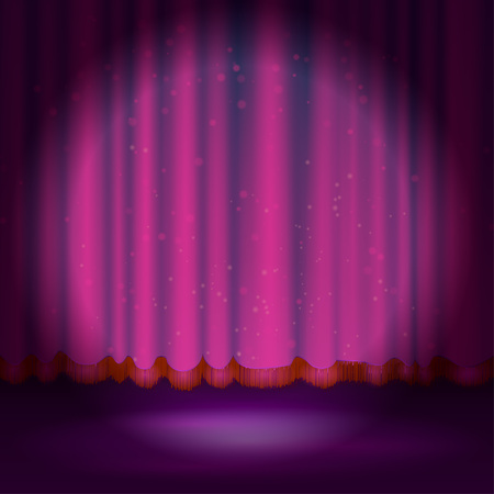 stage projector: Spotlight on magenta stage curtain. illustration.