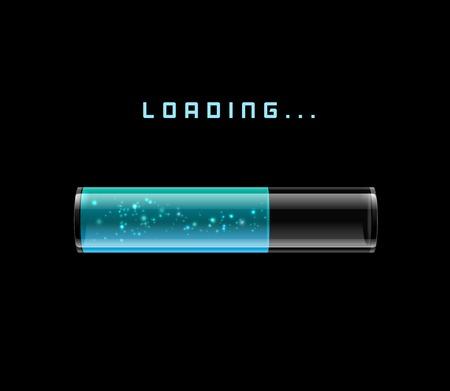 sparkling: blue Loading Bars with shine sparkling, illustration