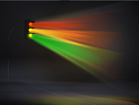 abstract traffic lights in fog