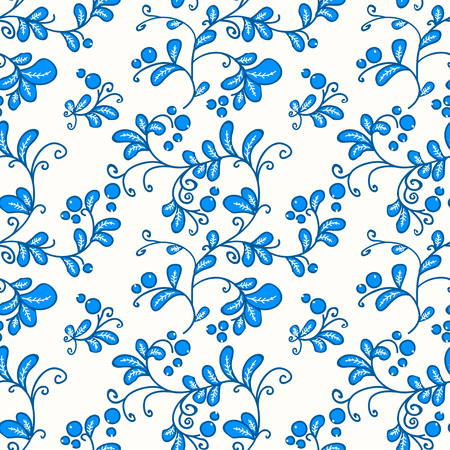 blueberry: seamless floral pattern with blueberry, illustration