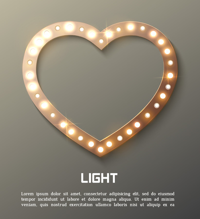 shiny heart: Star retro light . Illustration