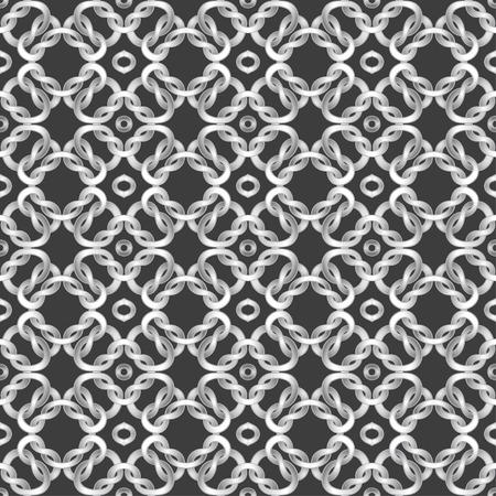 cords: White net on black background. seamless pattern Illustration