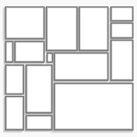 blank frame template set isolated on wall Illusztráció