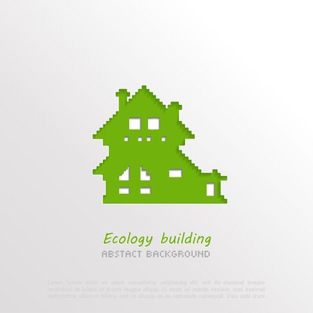 ecology background: 3D paper house abstract background, ecology concept Illustration