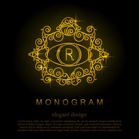 crown logo: Stylish elegant monogram, mono line art design logo Illustration