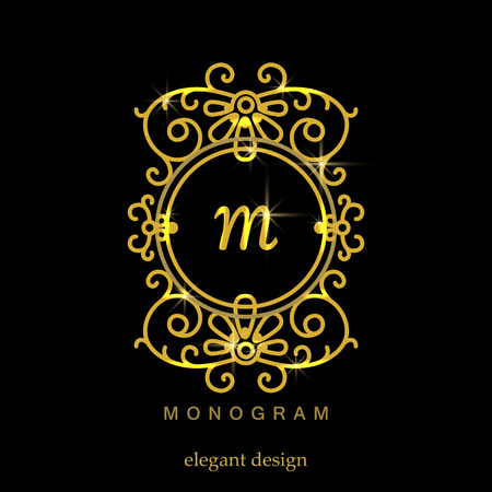 decorative background: Stylish elegant monogram, mono line art design logo Illustration