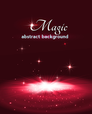 Magic stage background with smoke and stars.