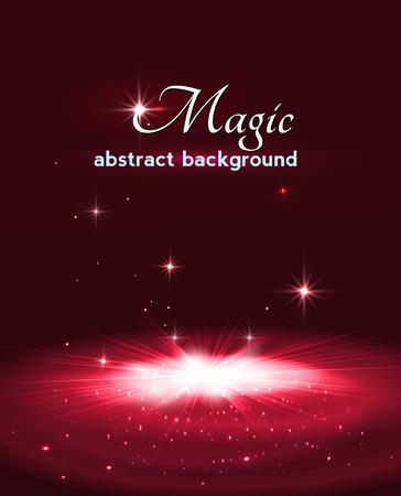 rot: Magie Bühnenhintergrund mit Rauch und Sterne.