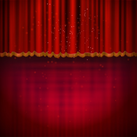 red stage curtain: Red floor with red stage curtain.