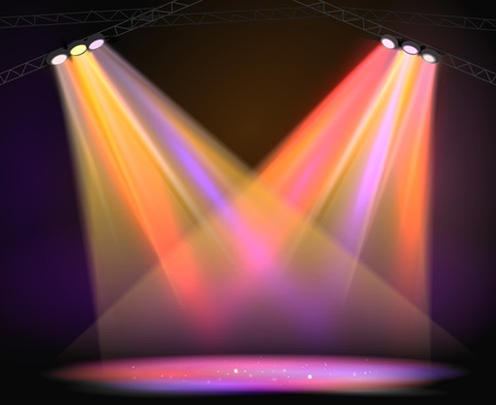 club scene: Background image of spotlights with stage in color