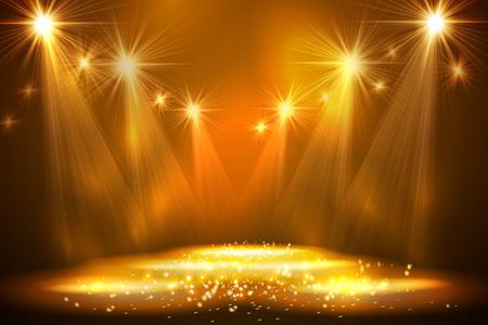 Schijnwerpers op het podium met rook licht. Vector illustratie. Stock Illustratie