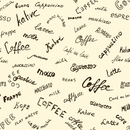 background coffee: Coffee words background, seamless vector Illustration