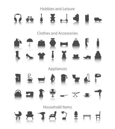 drill: Set icons fo hobbies, leisure, household, clothes, accessories, appliances.