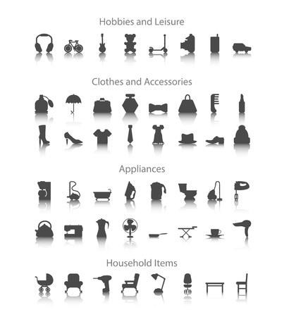 iron fan: Set icons fo hobbies, leisure, household, clothes, accessories, appliances.