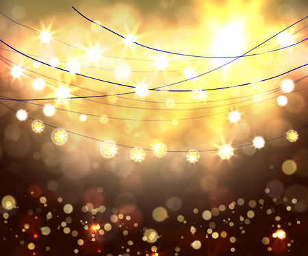 outdoor event: Festive light background with bokeh and stars