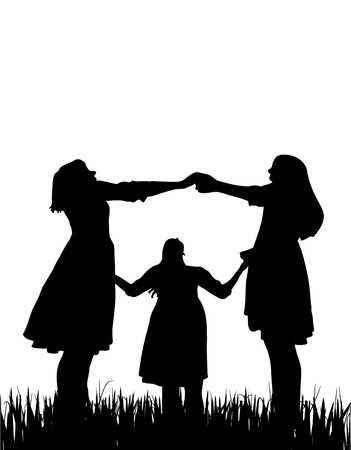 profile silhouette: Three woman together silhouette on white, vector
