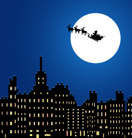 city at night: Santa Claus in a sleigh under night city, vector Illustration