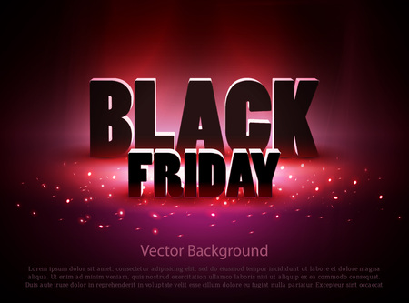Black friday sale background with red lights. Vector illustration