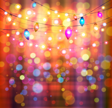 outdoor glamour: Festive light background with bokeh and stars, vector