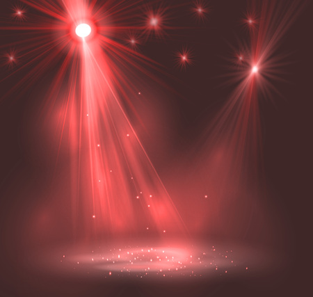roze: Spotlight on stage with smoke and   light. Vector illustration. Illustration