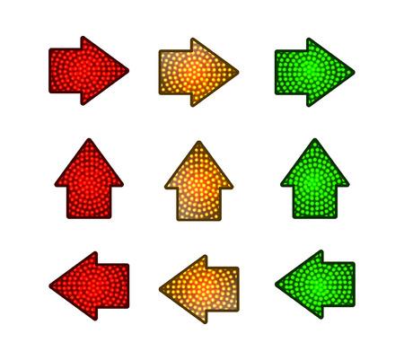 flecha semáforos con lámparas de color rojo, amarillo y verde sobre. ilustración vectorial