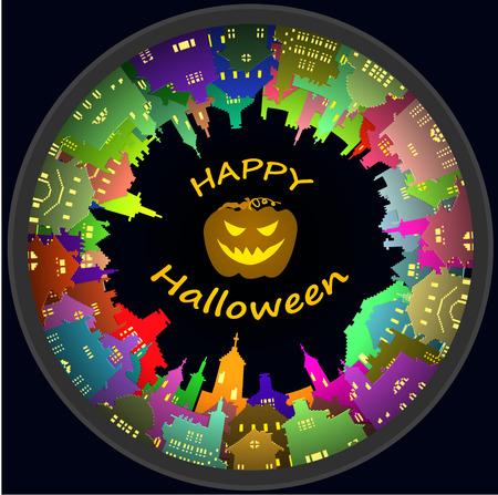 deserted: Halloween round town and lantern background, vector