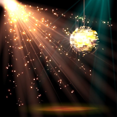 neon light: Disco ball background with light, vector illustration