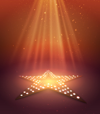 Star orange retro light banner. Vector illustration Banco de Imagens - 58628030