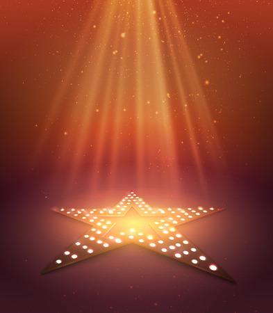 Ster oranje retro licht banner. Vector illustratie