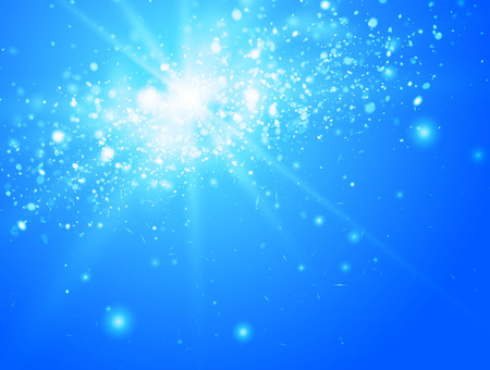 tranquil: Blue sky and sun with light and bokeh, vector Illustration