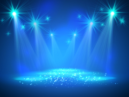 Spotlight on stage with smoke and light. Vector illustration. 일러스트