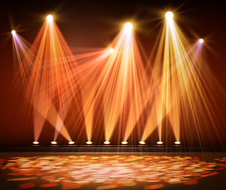live entertainment: Various stage lights in the dark. Spotlight on stage. Vector Illustration