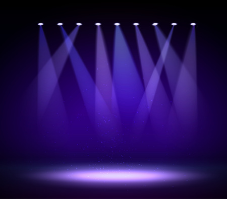 stage lights: Various stage lights in the dark. Spotlight on stage. Vector Illustration