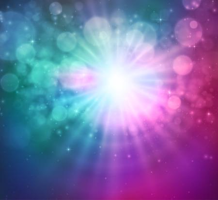 magenta: Shining sun bokeh and light magic background. Vector illustration Illustration