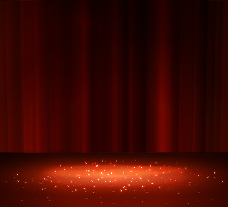 Red curtain with a spotlight, vector illustration.  イラスト・ベクター素材