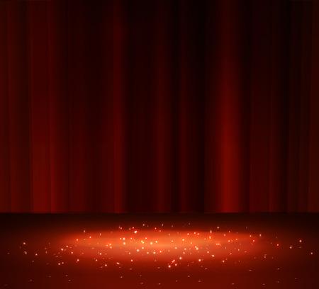 Red curtain with a spotlight, vector illustration. Vettoriali