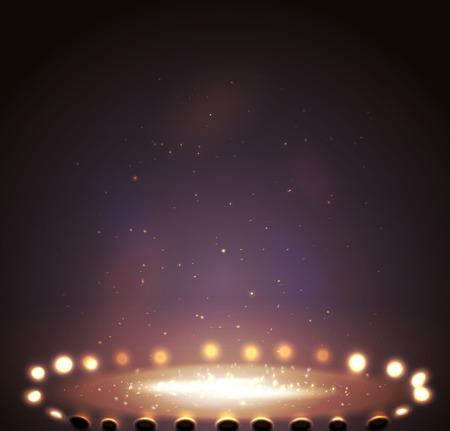 Stage with lights, shine and spotlights magenta. Illustration